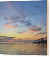 0201 Sunset Wisps On Sound Wood Print