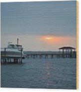 0204 Faint Sunrise On Sound Wood Print