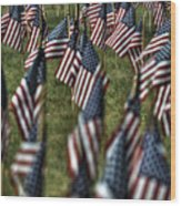 03 Flags For Fallen Soldiers Of Sep 11 Wood Print
