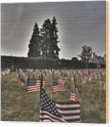 05 Flags For Fallen Soldiers Of Sep 11 Wood Print