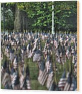 06 Flags For Fallen Soldiers Of Sep 11 Wood Print