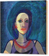 066 Woman With Red Necklace Av Wood Print