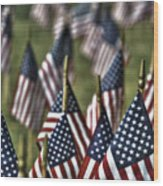 07 Flags For Fallen Soldiers Of Sep 11 Wood Print