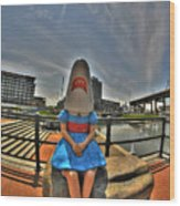 07 Shark Girl Wood Print