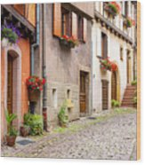 Half-timbered House Of Eguisheim, Alsace, France Wood Print