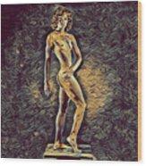 0957s-zac Fit Black Dancer Standing On Platform Wood Print