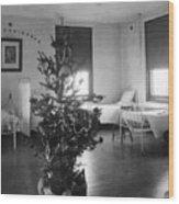 Christmas Tree In Hospital Ward 1923 Black White Wood Print
