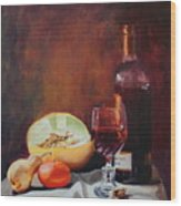Still Life With Wine Wood Print by Rose Sciberras