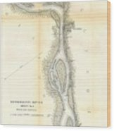 1865 Uscs Map Of The Mississippi River 78 To 98 Miles Above Cairo Illinois Wood Print