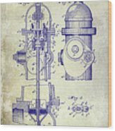 1903 Fire Hydrant Patent Wood Print