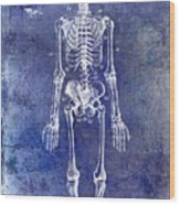 1911 Anatomical Skeleton Patent Blue Wood Print