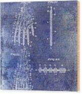 1911 Mechanical Skeleton Patent Blue Wood Print