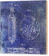 1913 Pocket Watch Patent Blue Wood Print