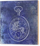 1916 Pocket Watch Patent Blueprint Wood Print