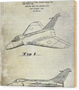 1956 Jet Airplane Patent 2 Blue Wood Print