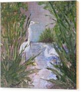 2 Herons In Hiding Wood Print