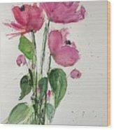 3 Pink Flowers Wood Print