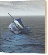 A Blue Marlin Bursts From The Ocean Wood Print