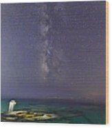 A Boat Under The Milky Way In Andros - Greece Wood Print