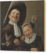 A Boy And A Girl With A Cat And An Eel Wood Print