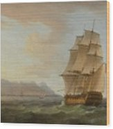 A British Man Of War Before The Rock Of Gibraltar Wood Print