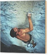 A Caucasian Man Rock Climbing Wood Print by Bobby Model