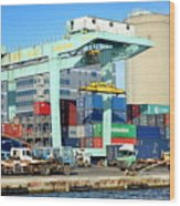 A Container Is Loaded In Kaohsiung Port Wood Print