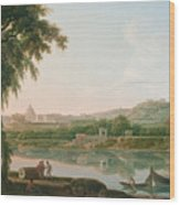 A Distant View Of Rome Across The Tiber Wood Print
