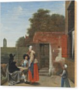 A Dutch Courtyard Wood Print