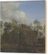 A Farm Among Trees Wood Print