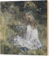 A Girl With Flowers On The Grass Wood Print