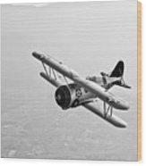 A Grumman F3f Biplane In Flight Wood Print
