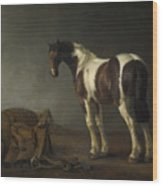 A Horse With A Saddle Beside It Wood Print