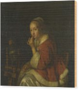 A Lady At A Spinning Wheel Wood Print
