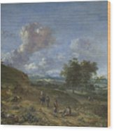 A Landscape With A High Dune And Peasants On A Road Wood Print