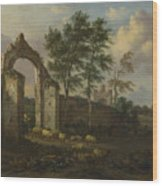 A Landscape With A Ruined Archway Wood Print