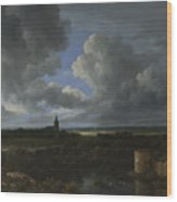 A Landscape With A Ruined Castle And A Church Wood Print