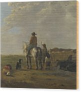 A Landscape With Horseman Herders And Cattle Wood Print