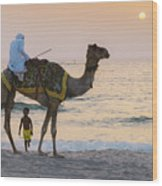 Little Boy Stares In Amazement At A Camel Riding On Marina Beach In Dubai, United Arab Emirates -  Wood Print