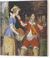 A Maid Offering A Basket Of Fruit To A Cavalier Wood Print