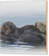 A Mama Sea Otter And Her Babe Wood Print