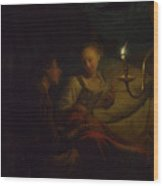 A Man Offering Gold And Coins To A Girl Wood Print