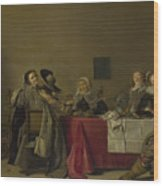 A Merry Company At Table Wood Print