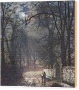 A Moonlit Lane Wood Print