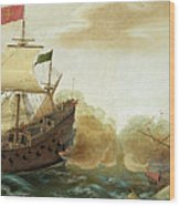 A Naval Encounter Between Dutch And Spanish Warships Wood Print