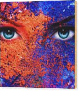 A Pair Of Beautiful Blue Women Eyes Beaming Color Earth Effect Painting Collage Violet Makeup Wood Print