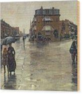 A Rainy Day In Boston Wood Print