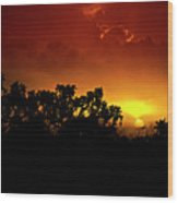 A Red Hot Desert Sunset  Wood Print