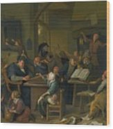A Riotous Schoolroom With A Snoozing Schoolmaster Wood Print