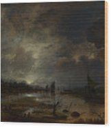 A River Near A Town By Moonlight Wood Print